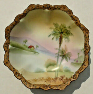 Antique NIPPON HAND PAINTED CANDY DISH Palm Trees EUC No Chips or Cracks