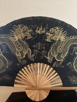 """Vintage Chinese Oriental Dragon Hand Painted Folding Paper Wall Fan Decor 56"""""""