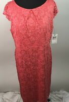 ABS Womens Plus Size NWT Dress Lace Coral Stretch Mother Of The Bride 2X AI1