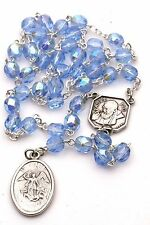 Sapphire Blue St Saint Michael Padre Pio Guardian Angel Rosary Beads Chaplet 6MM