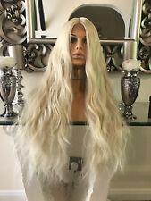 blonde human hair Lace Front wig, Bleach Blonde Wig, lace front Centre Part