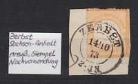 """DR - Mi. 18, 1/2 Gr., gr. Brustschild, K2 """"ZERBST"""" als Nachverwendung, 1873 !!"""
