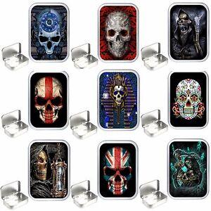 Skull Design . 1oz & 2oz Silver Hinged Tobacco Tin. Stash Can , Storage Tin. box