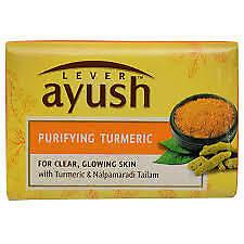 Lever Aush Purifing Tumeric, Safron & Aloe Vera  Aurvedic Soap in 05 pcs Pack.
