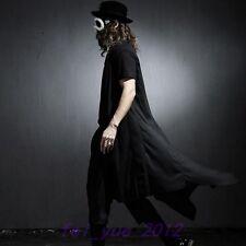 Mens Black Cape Gothic Loose Cardigan Short Sleeve Asymmetric Cloaks Long Coats