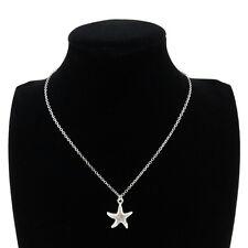 "Silver Alloy Sea Point Starfish Pendant Short Collar Necklace 18"" Beach Ocean"