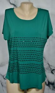 JACLYN SMITH COLLECTION Jungle Green Top Large Black Embellishments Short Sleeve