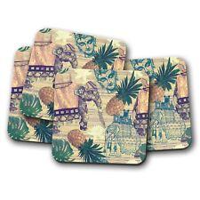 4 Set - Indian Style Coaster - Elephant Buddhist Lotus Flower Cool Gift #13195