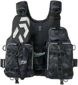 Daiwa DF-6206 Float Game Vest Black Camouflage Free From Stylish anglers Japan