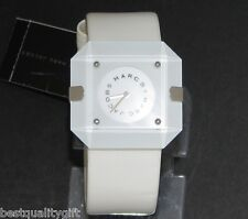 MARC JACOBS WHITE PATENT LEATHER CUFF BAND+SQUARE MINERAL CRYSTAL WATCH-MBM2018