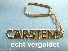 EDLER SCHLÜSSELANHÄNGER CARSTEN VERGOLDET GOLD NAME KEYCHAIN WEIHNACHTSGESCHENK