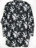 New York and Company women blouse Size S black white Floral semi sheer Shirt top