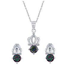 "925 Sterling Silver Mystic Topaz Cz Crown Pendant Charm & Earrings Set 18"" Chain"