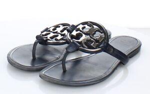 05-34  $228 Women's Sz  M Tory Burch Miller Metal-Logo Leather Flat Sandals