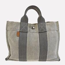 Authentic HERMES Logos Fourre Tout PM Hand Bag 100% Cotton Gray France 08Q900
