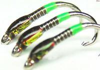 3x Olive & Killer Green Traffic Light Cheeks Size 12 Trout Fishing Flies Buzzers
