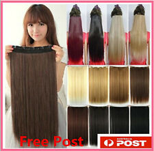 3/4 Full Head Clip in Hair Extensions Long Straight Style 5 Clips One Piece