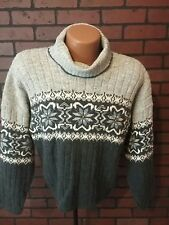 Adele Knit Wear Gray Nordic Print Turtleneck VINTAGE Sweater Womens Small S B5-4