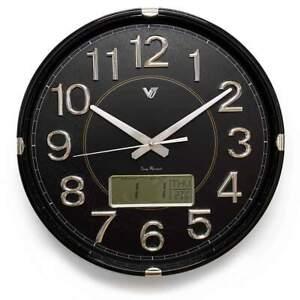 NEW Hardy Analogue with Digital Calendar & Temp Wall Clock, Black, 40cm