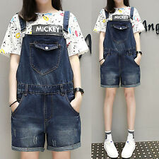 2017 Women Casual Loose Denim Dungaree Shorts Jumpsuit Overalls Suspender Jeans