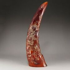 ANTIQUE CHINESE HAND CARVED HORN WITH INTRICATE LANDSCAPE AND FIGURE DESIGN!!