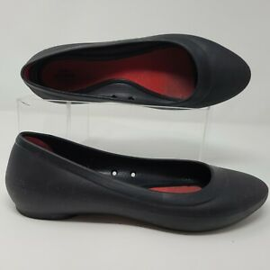 Crocs Lina Flat Womens 10 Black Rubber Iconic Comfort Slip On 203404