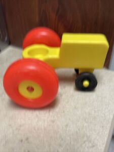 Fisher Price Farm Tractor Yellow with Red-Orange Wheels