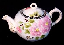 VINTAGE JAPAN HAND PAINTED PINK CHERRY BLOSSOM MORIAGE PORCELAIN TEA POT