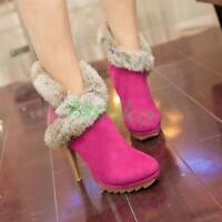 Fashion  Womens Ankle Boots Warm Fur Trim  Boots Stiletto High Heel Party Shoes
