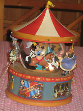 "Disney Mickey Mouse Carousel Snow Globe--  Plays ""Mickey Mouse Club March"""