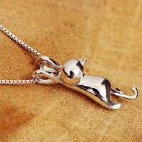 Damen Kette 925er Sterling Silber Kätzchen Anhänger Halskette Katze Cat Necklace