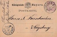 Postkarte verschickt von München nach Augsburg aus dem Jahr 1882 interessant