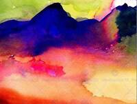 WATERCOLOR PAINTING ABSTRACT LANDSCAPE MOUNTAIN ART PRINT POSTER BMP1047B