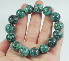 284.9Ct Natural Spiderweb Turquoise Round Beads Bracelet CTKM452