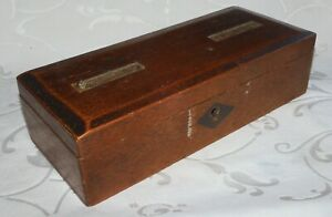 ANTIQUE WOODEN WRITING BOX - TWO LID SLOTS - 8 X 3.5 Inches