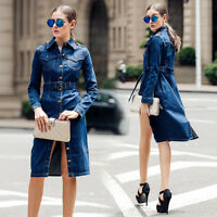 Womens Spring Long Trench Denim Jacket Jeans Single Breasted Coat Shirt S-4XL