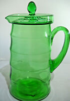 Vintage Large Green Pitcher with Applied Ribbed Handle and lid