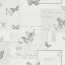 Retro Collage Grey Wallpaper Vintage Butterflies Motifs Typography Map Arthouse