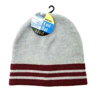 Gold Medal Mens Beanie Knit Winter Hat Cap Gray Maroon Striped New With Tags