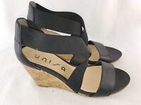 "Unisa ""Carsell"" Women's X-strap Cork Wedges, Black Size 6.5"
