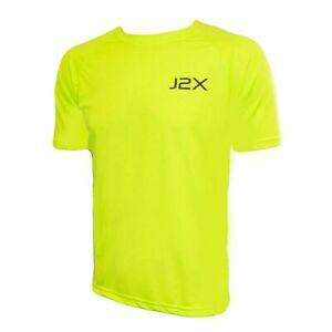 J2X Fitness Hi Viz Running Cycling High Visibility T-Shirt Top Yellow