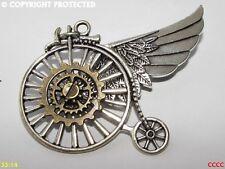 steampunk goth brooch badge silver penny farthing bronze cogs gearwheel feathers