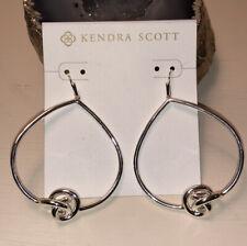 Kendra Scott Presleigh Love Knot Open Frame Earrings In Bright Silver NWOT