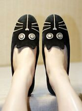 MARC JACOBS black suede cat face slippers shoes loafers flats 39.5-40 us9 uk6.5