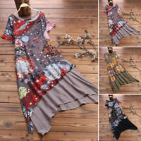 ZANZEA Women Asymmetrical Long Shirt Dress Vintage Floral Sundress Plus Size