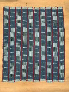 Woven Cotton Textile, Dyed Fabric, African Indigo Mudcloth, Baule Cloth