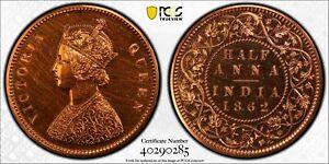 India British 1862 C 1/2 Anna PCGS PR63RD Restrike Proof rare in RED SW-4.156 B/