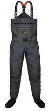HISEA NWT Flyfishing Breathable Black Green Stocking Foot Chest Waders Size L