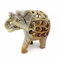 Sculpture, Banarsi, Soapstone Handcrafted Elephant with Baby Inside