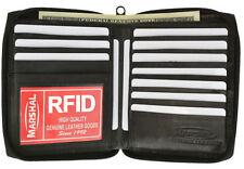 RFID Block Leather Men's Zip Around Hipster 10 ID Cards Bifold Eurpoean Wallet